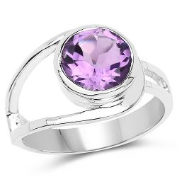 2.40 Carat Genuine Amethyst .925 Sterling Silver Ring