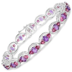 14.28 Carat Genuine Amethyst and Rhodolite .925 Sterling Silver Bracelet