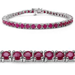 7.92 Carat Genuine Ruby .925 Sterling Silver Bracelet