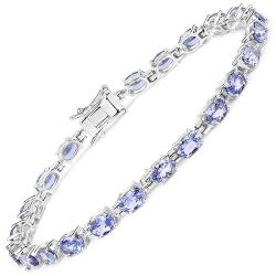 9.68 Carat Genuine Tanzanite .925 Sterling Silver Bracelet