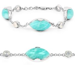 29.70 Carat Genuine Amazonite and White Agate .925 Sterling Silver Bracelet
