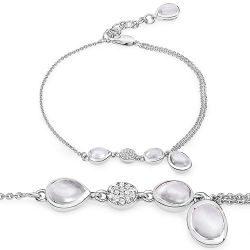 3.78 Carat Genuine Crystal Quartz and White Topaz .925 Sterling Silver Bracelet