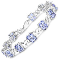 8.16 Carat Genuine Tanzanite .925 Sterling Silver Bracelet