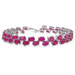 25.30 Carat Genuine Glass Filled Ruby .925 Sterling Silver Bracelet