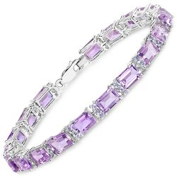 19.19 Carat Genuine Amethyst and Tanzanite .925 Sterling Silver Bracelet
