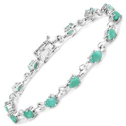4.68 Carat Genuine Emerald .925 Sterling Silver Bracelet