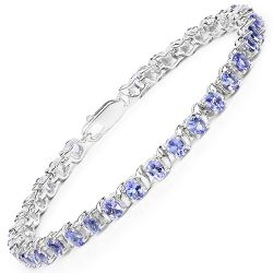 6.46 Carat Genuine Tanzanite .925 Sterling Silver Bracelet