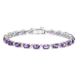14K White Gold Plated 10.08 Carat Genuine Amethyst .925 Sterling Silver Bracelet