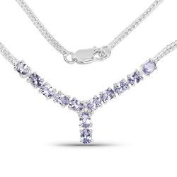 2.05 Carat Genuine Tanzanite and White Diamond .925 Sterling Silver Necklace