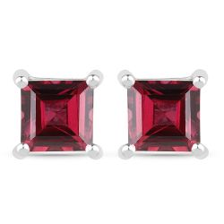 1.77 Carat Genuine Rhodolite .925 Sterling Silver Earrings