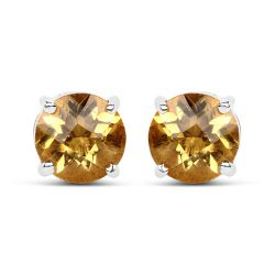 1.38 Carat Genuine Citrine .925 Sterling Silver Earrings