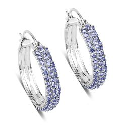 3.06 Carat Genuine Tanzanite .925 Sterling Silver Earrings