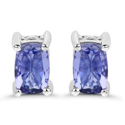 1.06 Carat Genuine Tanzanite .925 Sterling Silver Earrings