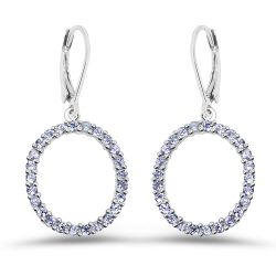 1.75 Carat Genuine Tanzanite .925 Sterling Silver Earrings