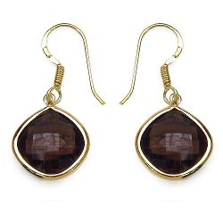 14K Yellow Gold Plated 7.92 Carat Genuine Smoky Quartz .925 Sterling Silver Earrings