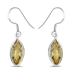 5.60 Carat Genuine Lemon Quartz .925 Sterling Silver Earrings