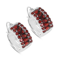 5.84 Carat Genuine Garnet .925 Sterling Silver Earrings