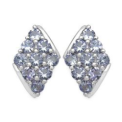 1.66 Carat Genuine Tanzanite .925 Sterling Silver Earrings