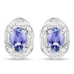 0.92 Carat Genuine Tanzanite and White Diamond .925 Sterling Silver Earrings