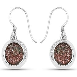 4.72 Carat Genuine Copper Bloom Drusy and White Topaz .925 Streling Silver Earrings