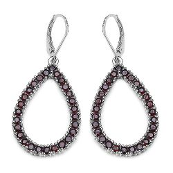 4.30 Carat Genuine Garnet Sterling Silver Earrings