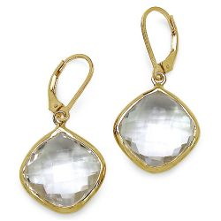 14K Yellow Gold Plated 23.86 Carat Genuine Crystal Quartz Sterling Silver Earrings