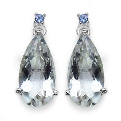 14K White Gold Plated 8.08 Carat Genuine Crystal Quartz, Tanzanite & White Diamond .925 Sterling Silver Earrings