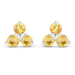 0.72 Carat Genuine Yellow Sapphire .925 Sterling Silver Earrings