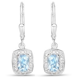 1.23 Carat Genuine Blue Topaz and White Diamond .925 Sterling Silver Earrings