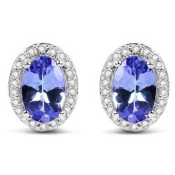 0.97 Carat Genuine Tanzanite and White Diamond 14K White Gold Earrings