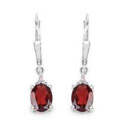 3.23 Carat Genuine Garnet and White Topaz .925 Sterling Silver Earrings
