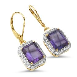 18K Yellow Gold Plated 5.52 Carat Genuine Amethyst & White Topaz .925 Sterling Silver Earrings