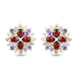 2.78 Carat Genuine Multi Stone .925 Sterling Silver Earrings