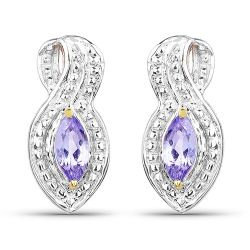 14K Yellow Gold Plated 0.28 Carat Genuine Tanzanite .925 Sterling Silver Earrings