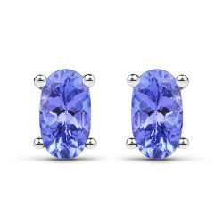 0.50 Carat Genuine Tanzanite .925 Sterling Silver Earrings