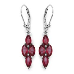 3.20 Carat Genuine Glass Filled Ruby .925 Sterling Silver Earrings