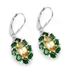 4.72 Carat Genuine Citrine, Chrome Diopside & White Topaz .925 Sterling Silver Earrings