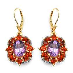 14K Yellow Gold Plated 8.14 Carat Genuine Amethyst & Citrine .925 Sterling Silver Earrings