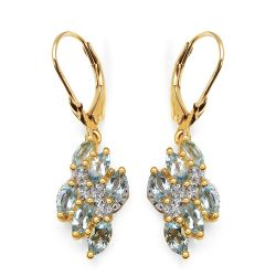 14K Yellow Gold Plated 1.55 Carat Genuine Aquamarine & White Topaz .925 Sterling Silver Earrings