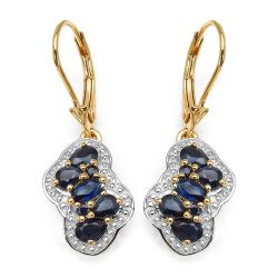 14K Yellow Gold Plated 2.12 Carat Genuine Blue Sapphire .925 Sterling Silver Earrings