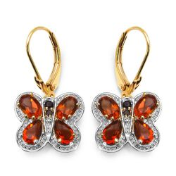 14K Yellow Gold Plated 3.48 Carat Genuine Citrine, Smoky Topaz & White Topaz .925 Sterling Silver Earrings