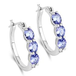 1.99 Carat Genuine Tanzanite and White Diamond .925 Sterling Silver Earrings