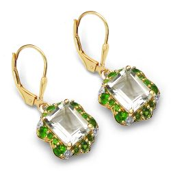 14K Yellow Gold Plated 5.60 Carat Genuine Amethyst, Chrome Diopside & White Topaz .925 Sterling Silver Earrings