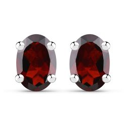 1.70 Carat Genuine Garnet .925 Sterling Silver Earrings