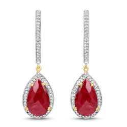 14K Yellow Gold Plated 10.96 Carat Dyed Ruby & White Topaz .925 Sterling Silver Earrings