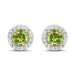 14K Yellow Gold Plated 1.16 Carat Genuine Peridot & White Topaz .925 Sterling Silver Earrings