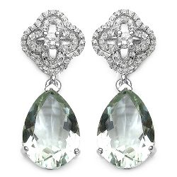 9.14 Carat Genuine Green Amethyst and White Topaz .925 Sterling Silver Earrings