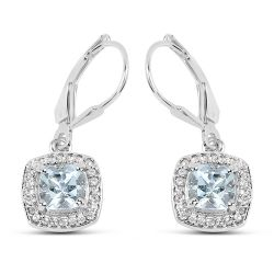1.84 Carat Genuine Aquamarine & White Topaz .925 Sterling Silver Earrings