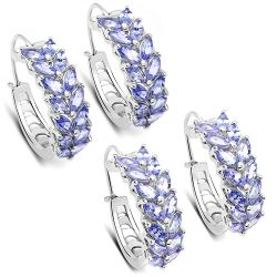 3.92 Carat Genuine Tanzanite .925 Sterling Silver Earrings