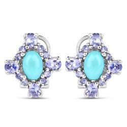 3.12 Carat Genuine Turquoise & Tanzanite .925 Sterling Silver Earrings